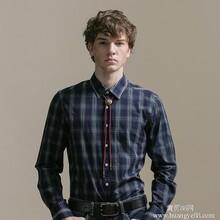 GXG男士时尚休闲绿白格子长袖衬衫