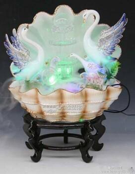 价格_时尚高档天鹅陶瓷瀑布造型流水喷泉风水球贝壳盆景精品摆件