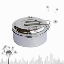 不锈钢圆型饭盒,不锈钢单层便当盒,双夹盖扣饭盒