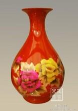 景德镇陶瓷器中国红镶金牡丹赏瓶麦秆画花瓶