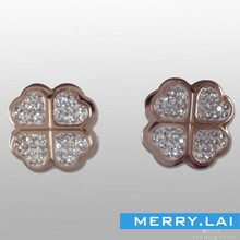 四叶草镶钻耳环,不锈钢耳环,不锈钢饰品厂家图片