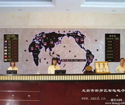 【酒店大堂背景墙装饰世界时间时差电子钟效果亚克力地图酒吧吧台