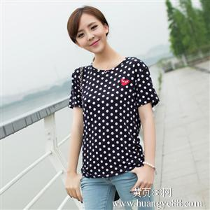 2014夏季新款韩版女装甜美靓丽圆点印花短袖上衣T恤