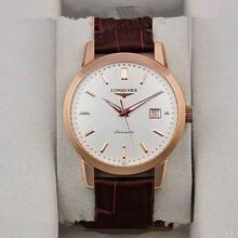 浪琴1比1高仿男表经典复古系列自动机械透底男表18K玫瑰金腕表