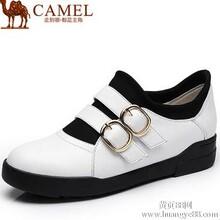 Camel骆驼新款简约百搭牛皮弹力布魔术贴金属扣休闲女鞋