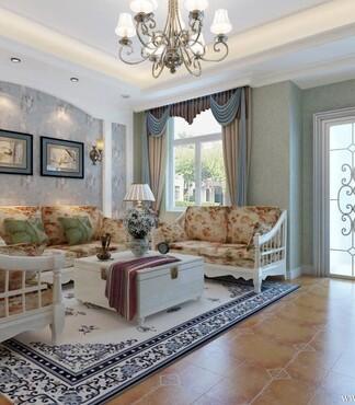 温馨田园风格二居93平家居客厅沙发茶几灯具装修效果图高清图片
