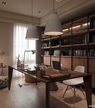 时尚62平家居书房书桌灯具书柜装修效果图_现代价格|图片】-黄页88
